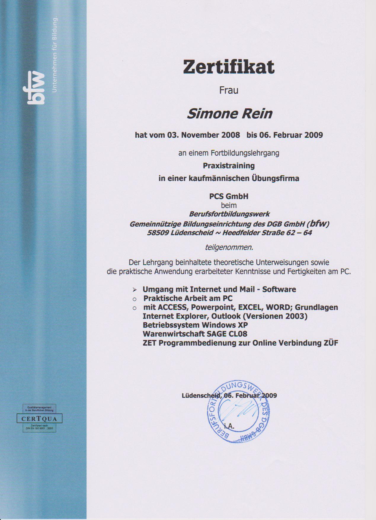 Zertifikat bfw